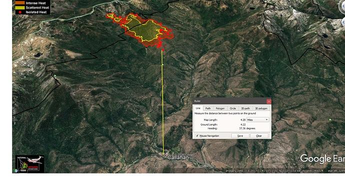 Fox Fire looking soutwest from Callahan - 4.2 mi..